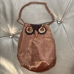 Kate spade rosegold owl metal clutch/bucket bag